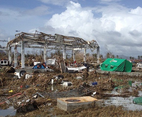 Skeletal remains of the airport after super typhoon Haiyan pummeled Tacloban, Philippines on Friday, November 8, 2013.