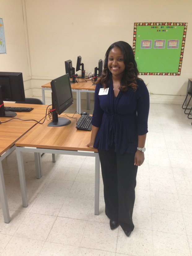 Ombudsman social studies teacher LaTisha Cole inside her class room  at the new Ombudsman Chicago location, 2401 W. Congress Parkway.