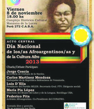 Afro-Argentinean Day poster with depiction of Maria Remedios del Valle