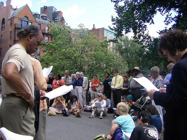 """During the annual communal reading of Frederick Douglass' speech """"What, to the Slave, is the Fourth of July?"""" on the Boston Common, hosted by Community Change, elected officials and spectators are encouraged to read a section of the historic speech."""