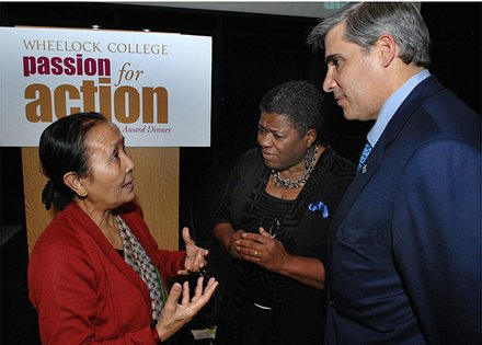 (l-r) Anuradha Koirala Founder and executive director of Maiti Nepal makes a point in conversation with Jackie Jenkins-Scott president of Wheelock College and Gerald Chertavian founder and CEO of Year Up at the conclusion of Wheelock's 4th Annual Passion for Action Leadership Award Dinner held at the JFK Presidential Library and Museum in Boston. Koirala and Chertavian received the 2013 Passion for Action Leadership Award for their work in stopping sex trafficking and for closing the opportunity divide for thousands of young adults across the United States.