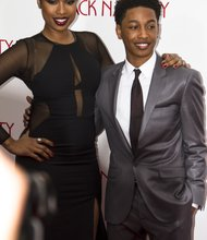 Jacob Latimore and Jennifer Hudson on the Apollo's red carpet