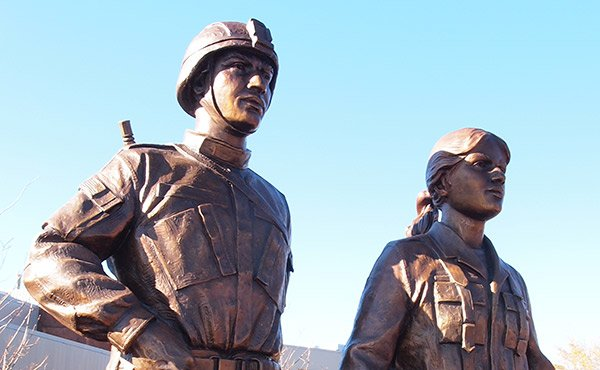 The bronze monument unveiled in the South End, depicting male and female Puerto Rican soldiers, is the first in the nation dedicated to Puerto Rican soldiers.