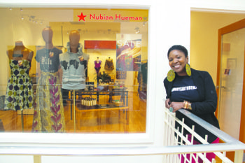 Anika Hobbs, founding curator of Nubian Hueman, a Southeast-based boutique specializing in ethnic fashion, art, and accessories, moved her shop into the Anacostia Arts Center earlier this year. Hobbs, in front of her establishment, said she's convinced that Shop Local Week could raise Nubian Hueman's profile.