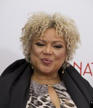 """""""Black Nativity"""" writer-director Kasi Lemmons at the """"Black Nativity"""" red–carpet event at the Apollo Theater (Paul M. Zapata III photo)"""
