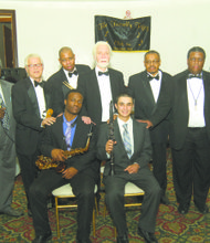 L to R (sitting in front): Scholarship recipients Joseph Tammaro and Jordan Young (standing in rear) and the Friendly 50 Clubs Inc. jazz musicians