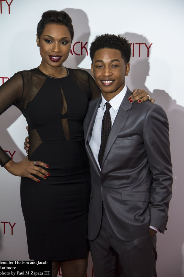 Jennifer Hudson and Jacob Latimore on the red carpet at the Apollo Theater