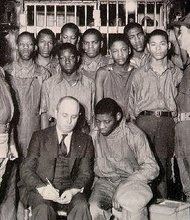 The Scottsboro Boys, with attorney Samuel Leibowitz, in 1932