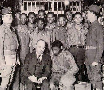 The Scottsboro Boys, with attorney Samuel Leibowitz, in 1932