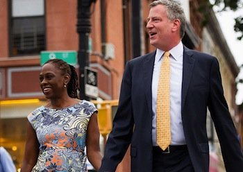 New York City Mayor-elect Bill de Blasio and his wife Chirlane McCray (courtesy of billdeblasio.com)