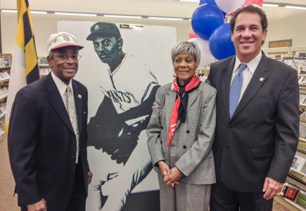 On Wednesday, November 20, 2013, Baltimore County Executive Kevin Kamenetz (right) announced that the permanent home of The Hubert V. Simmons Museum of Negro Leagues Baseball, Inc. would be located in the Owings Mills branch of the Baltimore County Public Library (BCPL). Present during the announcement was Audrey Simmons, Bert's widow, executive director of the museum and Ray Banks, a life-long friend of Simmons and the museum curator.