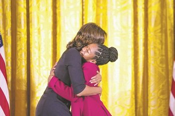 First lady Michelle Obama invited the 12 winners of the 2013 National Arts and Humanities Youth Program Award to the ...