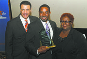 L to R: Bob Lee, founder of Make the Grade Foundation, awardee Joseph Gates and Denise Rogers