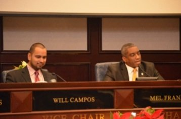 Prince George's County Council members Mel Franklin (right) and Will Campos were elected to serve as chair and vice chair of the council. (Courtesy photo)