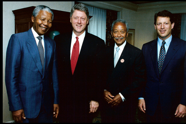 Nelson Mandela, President Bill Clinton, Mayor David Dinkins and Vice President Al Gore