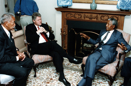 Mayor David Dinkins, President Bill Clinton and Nelson Mandela