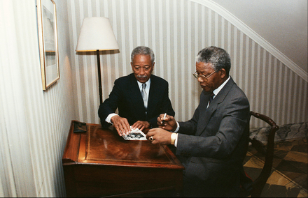 Mayor David Dinkins and Nelson Mandela