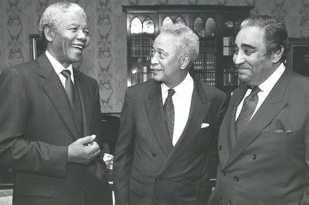 Nelson Mandela, Mayor David Dinkins and Congressman Charlie Rangel