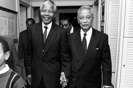 Nelson Mandela and Mayor David Dinkins