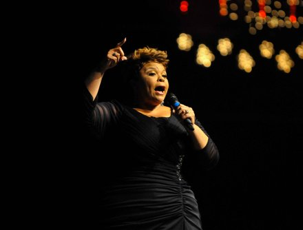 """Meet the Browns"" and gospel star Tamela Mann displays her vocal prowess during the Evangel Cathedral's Christmas Celebration 2013 in Upper Marlboro, Md., on Saturday, Dec. 7."