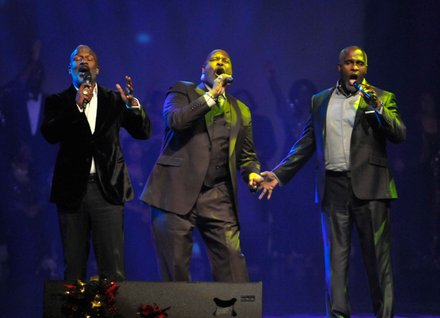 From left: Bebe, Carvin and Marvin Winans of 3WB perform during the Evangel Cathedral's Christmas Celebration 2013 in Upper Marlboro, Md., on Saturday, Dec. 7.