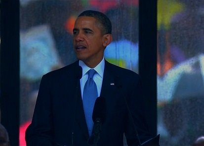 "President Barack Obama gives a tribute to Nelson Mandela at his public memorial on Tuesday, December 10, 2013. ""To the people of South Africa -- people of every race and every walk of life -- the world thanks you for sharing Nelson Mandela with us,"" Obama said."