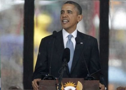 President Obama speaks at a Memorial Service for Nelson Mandela in Johannesburg, South Africa.