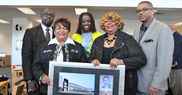 Dallas ISD Trustee Bernadette Nutall (center) joins (left-right) Derwin Broughton, Project Architect, KAI Texas, Dr. Barbara Dade Martin and Ms. Billy Joyce Sandord (daughters of the late Billy Earl Dade), and Darren James, Pres., COO, KAI Texas for the dedication of the new middle school.