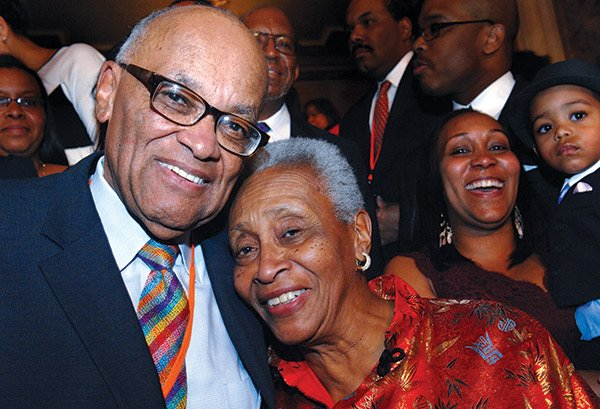Hubie Jones, joined by his wife Cathy, celebrated his 80th birthday with family, friends and colleagues at the Wang Theater in Boston. Over 100 people were in attendance with tributes from Mel King, Charlie Rose, Mayor-elect Marty Walsh, Charlotte Golar-Richie and a special letter read from President Obama. The Boston Children's Choir founded by Jones sang.
