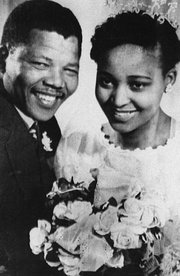 Nelson Mandela is accompanied by his wife Winnie, moments after his release from Victor Verster prison.