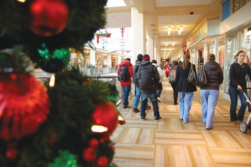 Shopping for the holidays is a familiar scene at Lloyd Center Mall in northeast Portland.