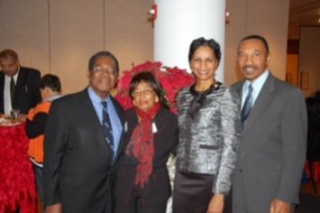 Pictured at the reception following the Annual Christmas Concert by the Morgan State University Choir on Dec. 15 are: His Excellency Dr. Eugene Newry, Bahamas Ambassador to the United States; Mrs. Francoise Torchon Newry; Tiffany Beth Mfume, DrPH, Morgan State's Director of Student Success and Retention; and former Congressman Kweisi Mfume, who represented Maryland's 7th Congressional District for five terms, and is currently Chairman of the Board of Morgan State.