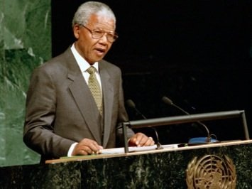 **FILE** South African President Nelson Mandela addresses the 49th session of the General Assembly in 1994. (Courtesy of the United Nations)