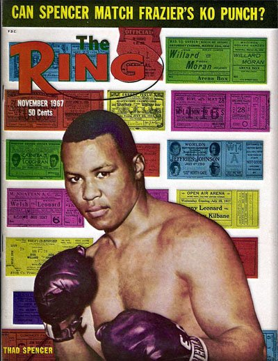 Thad Spencer, a professional boxer from Portland, graces the cover of The Ring magazine in 1960.