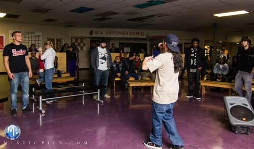 Portland-based rapper Talilo performs at The Blazers Boys and Girls Club during a hip-hop benefit concert raising money for victims of the Philippines disaster Typhoon Haiyan. The concert raised over $1,000 in donations.