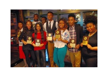"""Students from Excel Academy at Francis M. Wood who were rewarded with a VIP Weekend earlier this month for meeting an Attendance Challenge made by James """"Diggz"""" Ihedigbo to all Baltimore City high schools."""