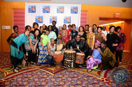 Members of NaZu Dance Company along with drummers prior to performing at one of President Barack Obama's inauguration ball events earlier this year.