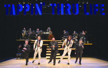 "From left: Max Heimowitz, John Manzari, Maurice Hines, Leo Manzari and Sam Heimowitz, with members of the DIVA Jazz Orchestra, in ""Maurice Hines is Tappin' Thru Life"" at Arena Stage at the Mead Center for American Theater which runs through Sunday, Dec. 29."