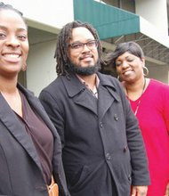 Dr. Alicia Moreland-Capuia (from left) and members of her 'Healing Hurt People' team, Josh Lathan and Cheryl A. Johnson, oversee the new violence prevention program that helps young people, especially men of color, heal from traumatic injuries and make future adjustments to their lives to help end a cycle of recurring violence and retribution.