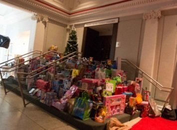 Many toys were collected during Carolina Kitchen's Sixth Annual Holiday Celebration and Toy Drive Party at the Carnegie Library in Northwest on Thursday, Dec 19.