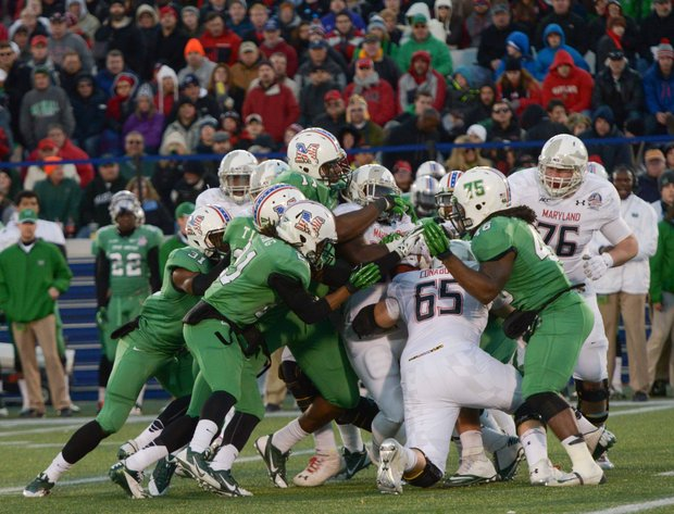 The Marshall Thundering Herd defeated the Maryland Terrapins, 31-20, in the 2013 Military Bowl on Friday, Dec. 27 at Jack Stephens Field at Navy-Marine Corps Memorial Stadium in Annapolis.