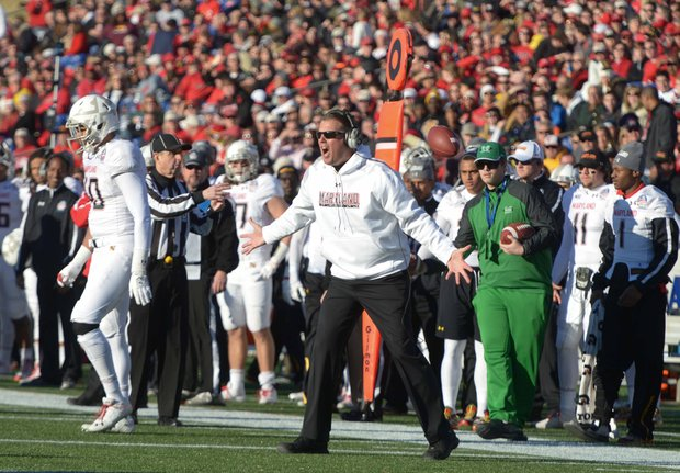 Maryland Terrapins head coach Randy Edsall reacts to an official's call during the first half of the 2013 Military Bowl on Friday, Dec. 27 at Jack Stephens Field at Navy-Marine Corps Memorial Stadium in Annapolis. The Marshall Thundering Herd defeated the Terrapins, 31-20.