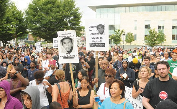 Crowds gathered in Dudley Square on Sunday night to protest the not guilty verdict in the trial of George Zimmerman for the shooting death of Trayvon Martin.