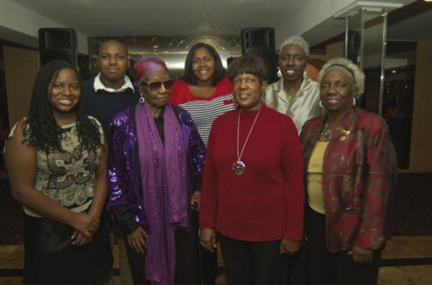 L to R: (front row) Amari Tankard, Hyacinth, Bronx Triangle President Julia A. Price and Helen Baldwin; (back row) Reggie Tankard, Katheirne Peters and Janice Keller (Gideon Manhasseh photos)