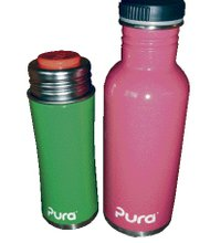 Pura bottles are durable, food-grade, 60 percent recycled stainless steel, toxin-free bottles that do not shatter or crack and are very resistant.