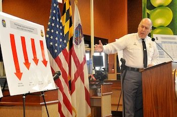 Prince George's County police Chief Mark Magaw presents crime statistics from 2013 during a press conference in Lanham on Jan. 2.