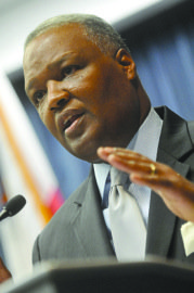 Prince George's County Executive Rushern L. Baker III (D) announced a decline in the county's crime rate during a press conference in Lanham on Jan. 2.