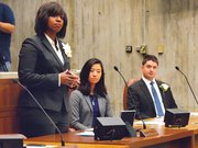 Councilors Ayanna Pressley, Michelle Wu and Josh Zakim