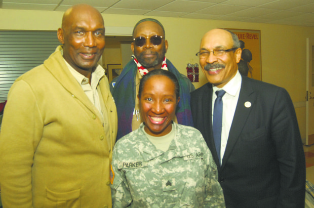 L to R: Harlem Veteran Center Director Walter Bridges; Sgt. Felecia Parket; Eric Glaude, Borough of Manhattan Community College counselor for veteran affairs; (standing rear) retired U.S. Air Force member Edward Daniel