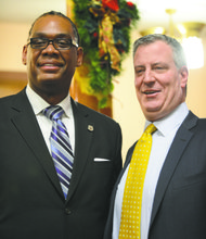New coubcilman Robert Cornegy and Mayor Bill de Blasio